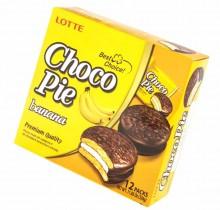 Choco-Pie  LOTTE БАНАНОВЫЙ 28г х 12