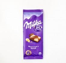 Шоколад Milka  МОЛОЧНЫЙ И БЕЛЫЙ 90г