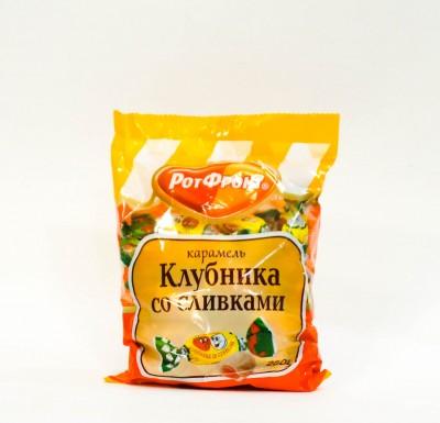 Конфеты КЛУБНИКА СО СЛИВКАМИ карамель 250г (РотФронт)_0