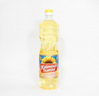 """Масло подсолнечное, рафинированное, дезодорированное, 0,9 л  """"Кубанская семечка""""_0"""