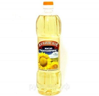 """Масло подсолнечное, рафинированное, дезодорированное, 0,9 л  """"Аннинское""""_0"""