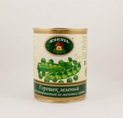 Горошек зеленый, 360г, в/с,  Юнона_0